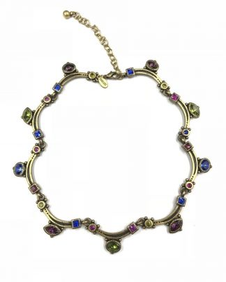 Chico's Antiqued Bronze Tone Colorful Link Rhinestone Choker Necklace