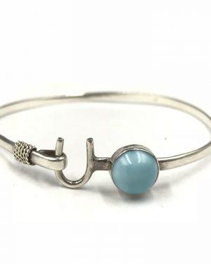 Sterling Silver Blue Cabochon Stone Horseshoe Cuff Bangle Hook Bracelet 7″ Signed 925