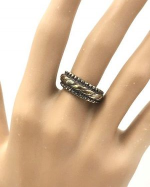 Vintage Sterling Silver Rope Detail Seed Bead Ring Size 6 Signed 925 MD