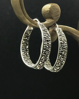 Thailand Sterling Silver Marcasite Stone Hoop Earrings Signed A925 - Polished