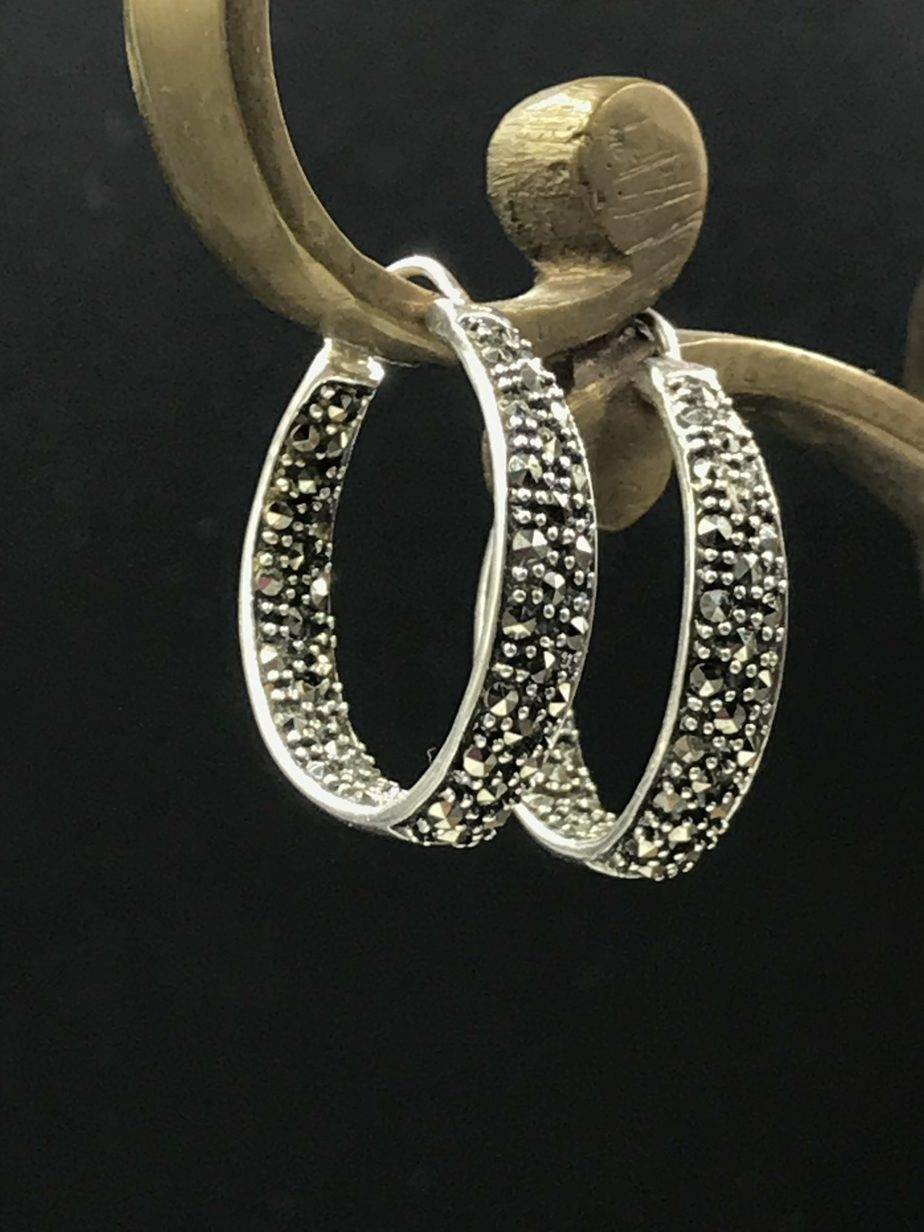 c7d90c0b7 Thailand Sterling Silver Marcasite Stone Hoop Earrings Signed A925 -  Polished
