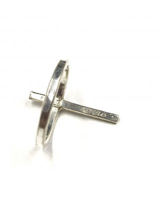 Sterling Silver Inspirational Cross Hammered Statement Design Ring