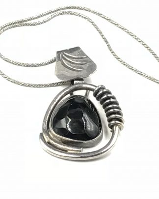 Unique Vintage Sterling Silver Huge Facet Spirals Black Pendant Necklace
