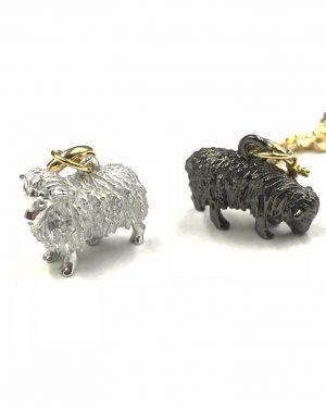 Joan Rivers Noah's Ark Sheep Black White Wool Charms Gold Plated Chain