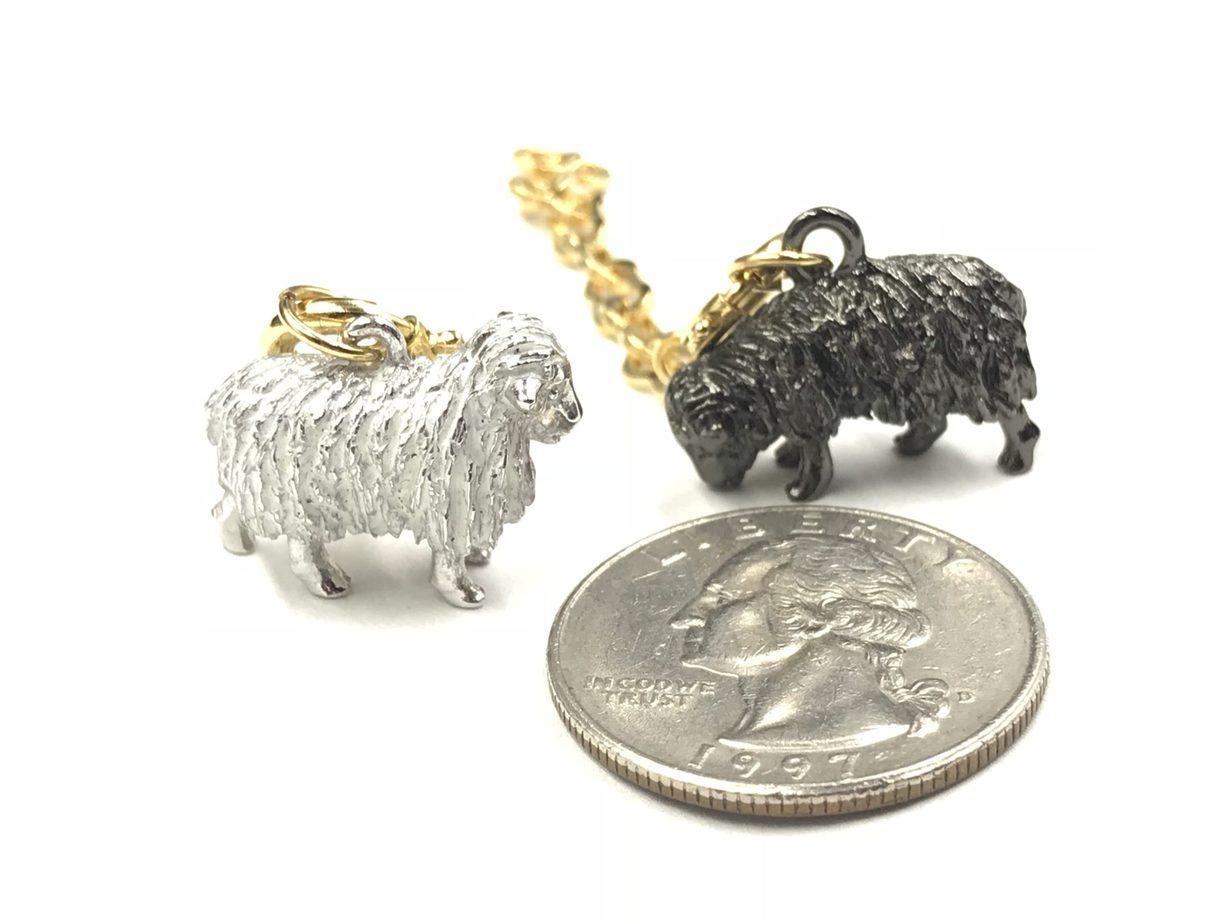 Joan Rivers Noah S Ark Sheep Black White Wool Charms Gold