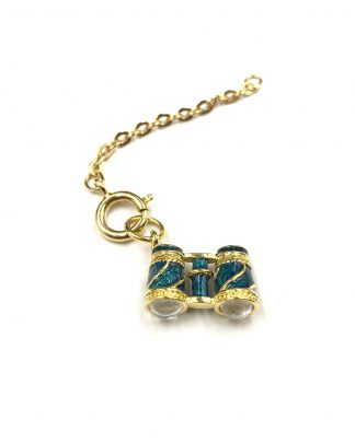 Joan Rivers Gold Plated Blue Enamel Binoculars Charm Pendant