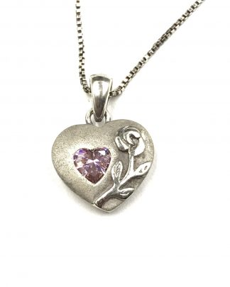 "Sterling Silver Purple Amethyst Puffed Heart Love Pendant Necklace 18"" Flower Accent"
