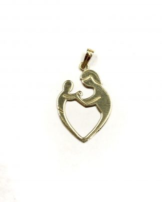 Vintage 14K Shiman Yellow Gold Mother Child Heart Pendant