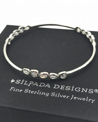 Silpada Cubic Zirconia Sterling Silver Magnifique Bangle Bracelet Retired B2705