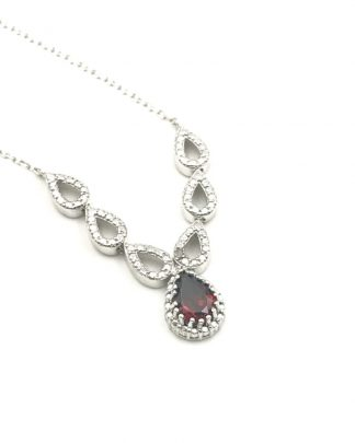 Garnet Diamond Sterling Silver V Chevron Style Necklace