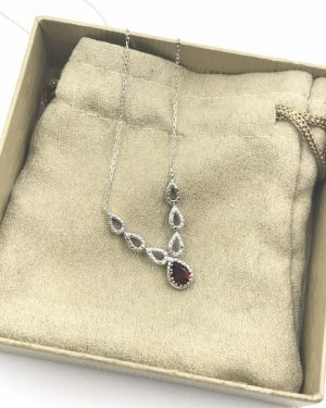 Graceful Garnet Diamond Sterling Silver V Chevron Style Necklace