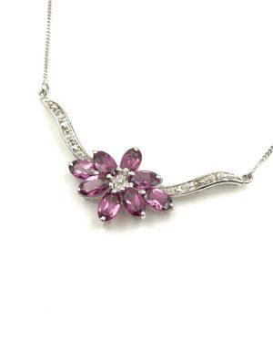 Diamond Amethyst Purple Jewelry Sterling Silver V Chevron Necklace