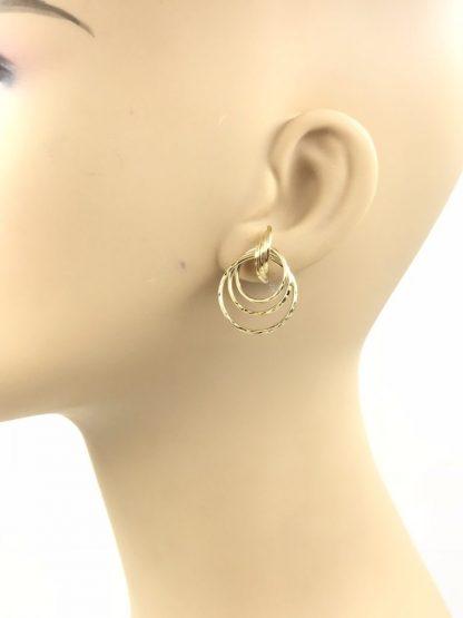 Designer Candela Vintage Twisted Trinity Hoop Earrings 14K Yellow Gold Signed 2.37g - Signed 14k CJI