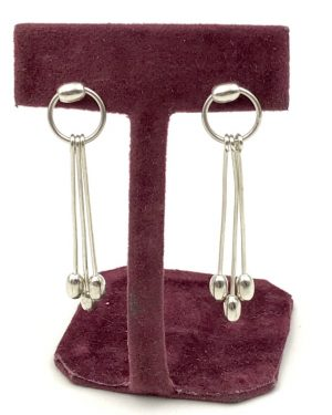 Sterling Silver Modern Minimalist Hoop Triple Dangle Drop Post Earrings – Signed 925