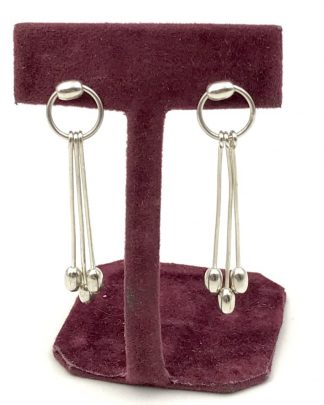 Sterling Silver Modern Minimalist Hoop Triple Dangle Drop Post Earrings