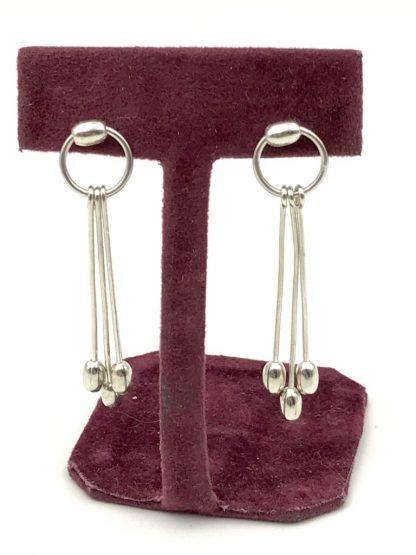 Sterling Silver Modern Minimalist Hoop Triple Dangle Drop Post Earrings