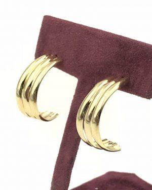 Vintage 14k Yellow Gold Partial Hoop Post Earrings Designer Candela Andrea – 1.4g – Signed CJI 14k