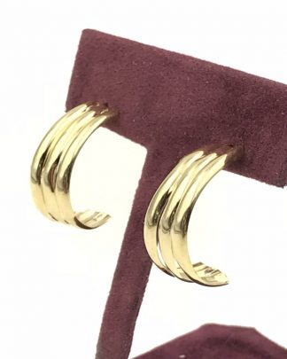 The Vintage 14k Yellow Gold Partial Hoop Post Earrings Designer Candela