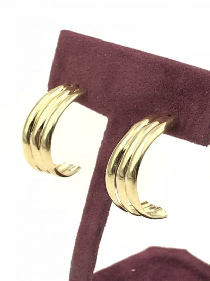The Vintage 14k Yellow Gold Partial Hoop Post Earrings Designer Candela