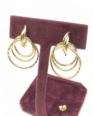 Designer Candela Vintage Twisted Trinity Hoop Earrings 14K Yellow Gold Signed 2.37g - Signed 14k CJI