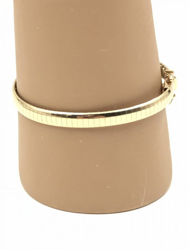 Elegant 14K Italy Gold Aurafin Domed Omega Style 6mm Bangle Bracelet
