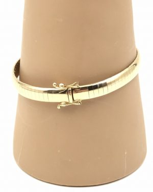 Elegant 14K Italy Gold Aurafin Domed Omega Style 6mm Bangle Bracelet 7″
