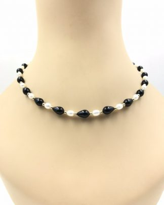 """Stunning Creamy White Pearl Black 14K Yellow Gold Bead Necklace 18"""""""