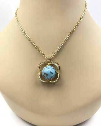 Austrian Turquoise Pendant Gold Tone Necklace
