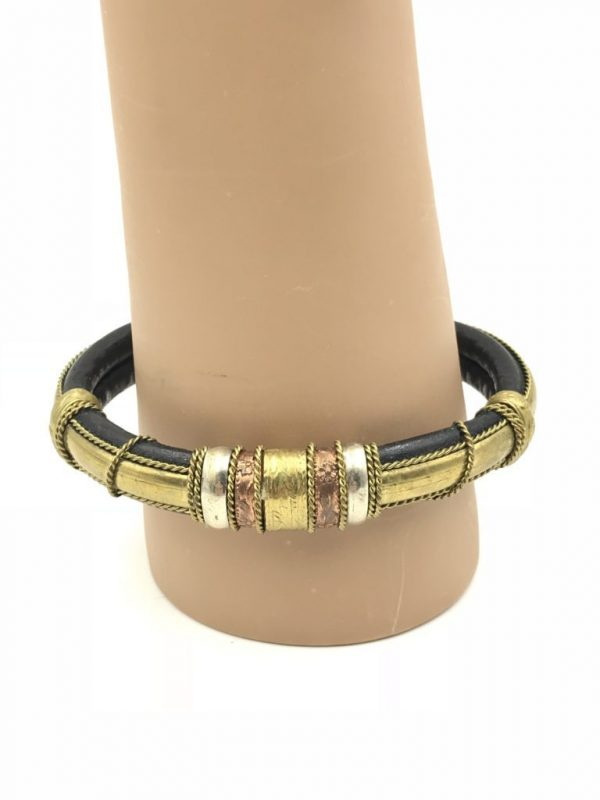 Vintage Leather Egyptian Revival Cuff Bracelet Mixed Metals Detail