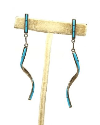 Inlaid Turquoise Long Spiral Ribbon Dangle Post Earrings Signed 925 MD