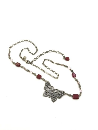 American Eagle 925 Necklace Sterling Silver Butterfly Pendant Red Pink Beads