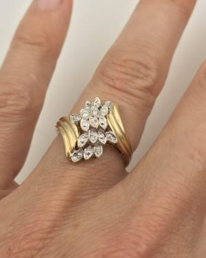 Yellow Gold Diamond Cluster Ring 10k Cocktail Accent High Setting