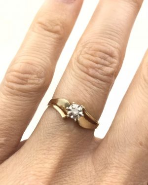 Illusion Setting Vintage Diamond Solitaire Engagement Ring 10k Yellow Gold