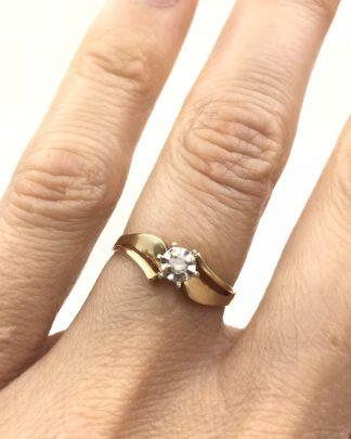 Gorgeous Vintage Yellow Gold 10K Diamond Solitaire Wedding Ring Designer Size 6.5 Unique Signed 10K CI