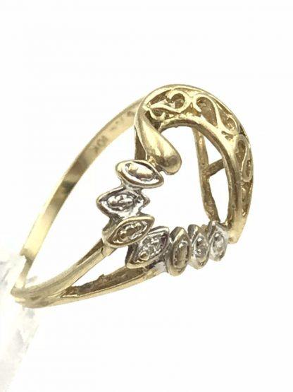 Diamond Open Heart Yellow Gold Cluster Filigree Ring 10K