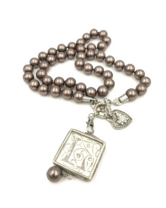 """Jewel Kade Brown Pearl Charm Toggle Necklace Letter L 26"""" Fashion Heart"""