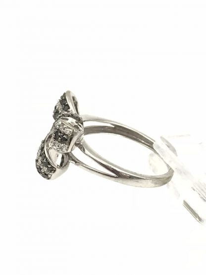1/2 CT. T.W. Enhanced Black and White Diamond Bow Ring in 10K White Gold