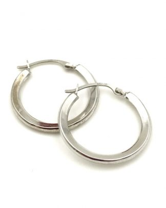 Simple 10K White Gold Hoop Earrings Jewelry Minimalist