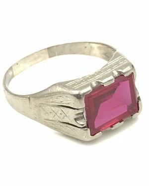 Vintage Mens Fancy Engraved 10K Gold Red Ruby Ring Sz 9.5 Fine Estate Jewelry