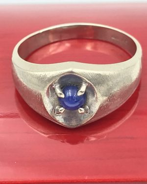 Simple 10k White Gold Blue Star Sapphire Ring Men's Sz 12.5 Vintage 5 grams