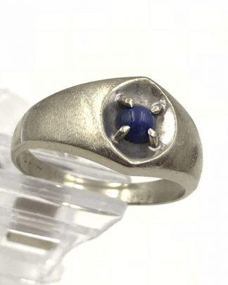10k White Gold Blue Star Sapphire Ring Mens Sz 12.5 Vintage