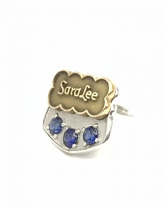 Sara Lee 10K White Yellow Gold Blue Sapphire Service Award Pin Tie Tack