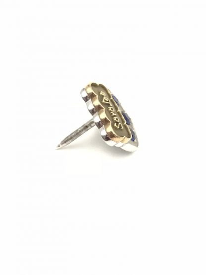 Sara Lee 10K White Yellow Gold Blue Sapphire Service Award Pin Tie Tack