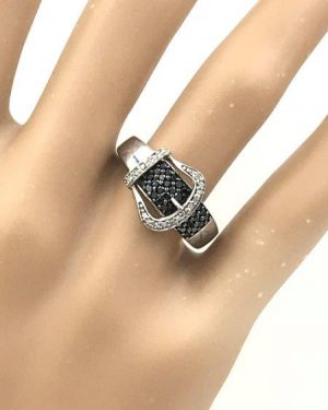 Estate Jewelry 925 Sterling Silver JWBR Black White Diamond Buckle Ring Sz 6.5