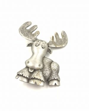 Cute JJ Jonette Jewelry Silver Pewter Cartoon Moose Pin
