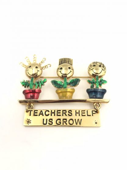 Danecraft Teachers Help Us Grow Brooch Pin Enamel Gold Tone