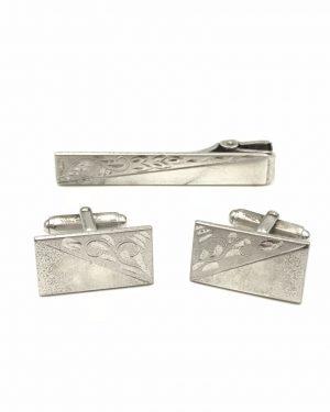 Vintage Anson Sterling Silver 925 Tie Bar Clip Cufflinks Etched Design