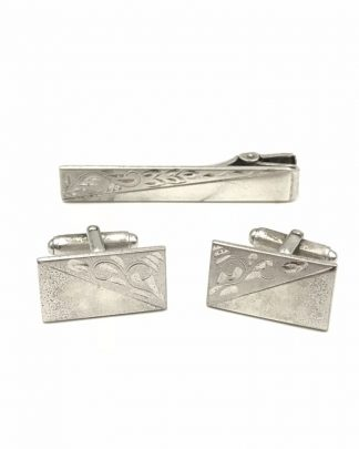 Vintage Anson Sterling Silver 925 Tie Bar Clip Cufflinks Etched Design