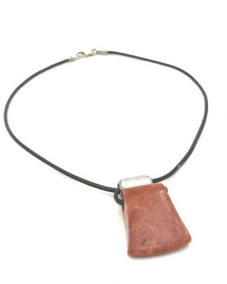 "The Silpada Black Leather Sterling Silver Sponge Coral Cardinal Rule Necklace 17"" N0965"