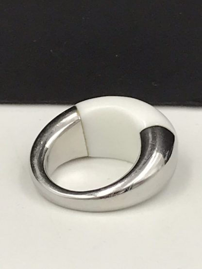 Calvin Klein Wide Stainless Steel White Glass Eclipse Ring Size 7